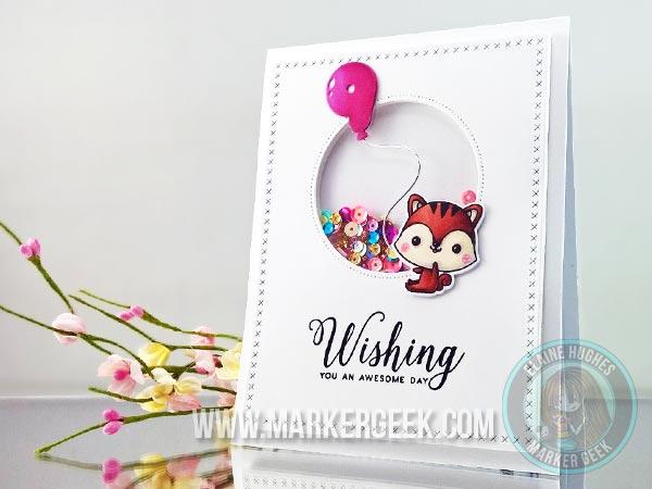 Birthday Shaker Card With Mama Elephant Marker Geek