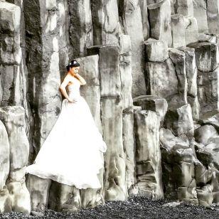 Bride on the Basalt Columns at the Black Sand Beach