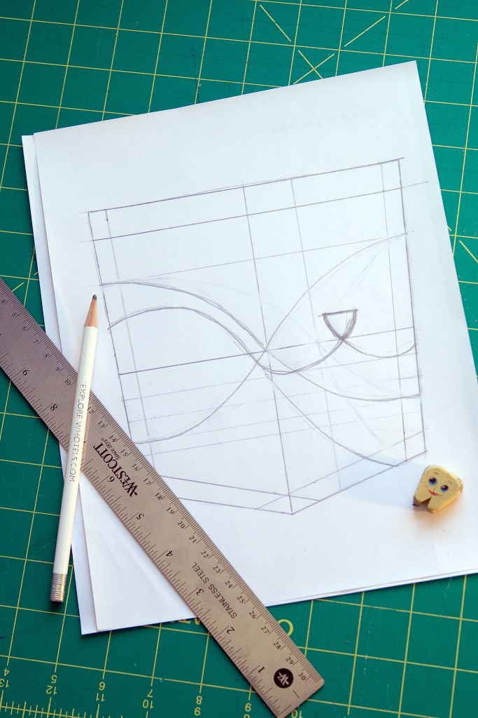 Template with stitching lines