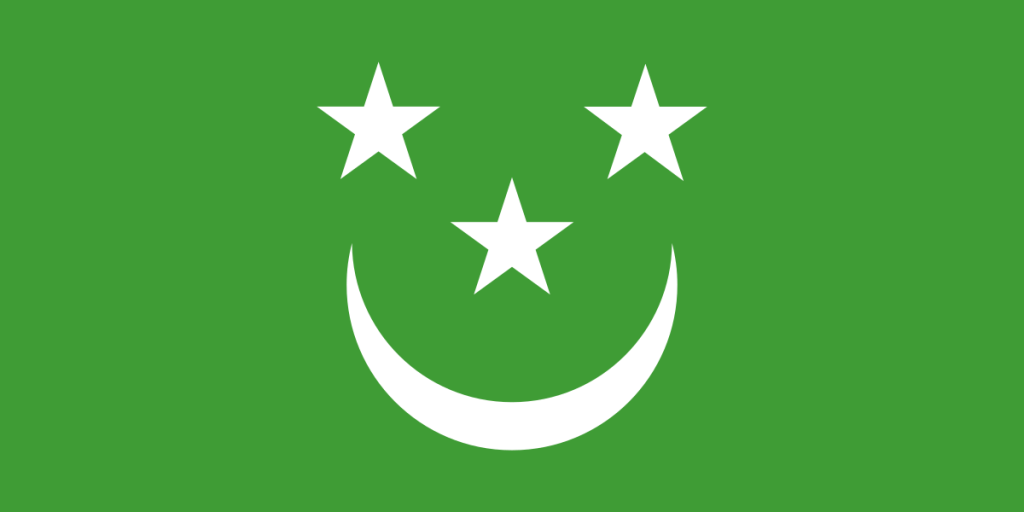 smiley face flag, white on green
