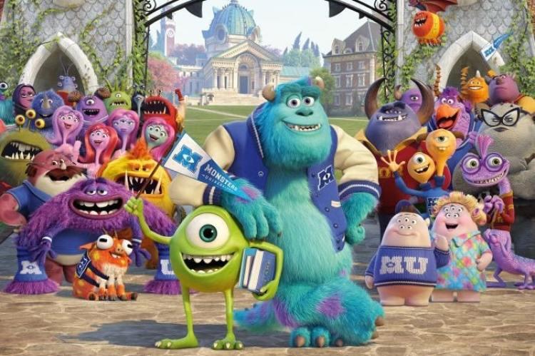 cena do filme universidade monstros - personagens principais