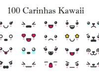 imagem com alguns desenhos de carinhas kawaii