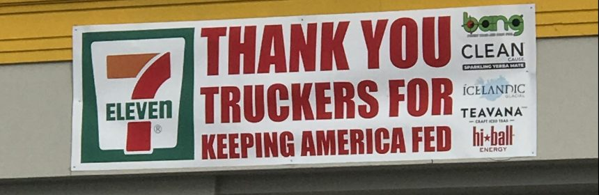 Sign thanking truckers for feeding America