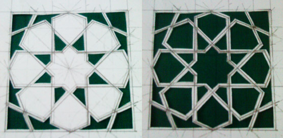 Final stages before tiling - hand cutting parts if the pattern