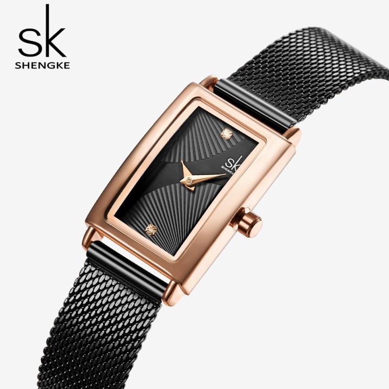 QUO ARTEM SHENGKE-Fashion-Rectangle-Dial-Quartz-Watches-Women-s-Luxury-Brand-Wristwatches-Lady-Black-Stainless-Steel-Mesh-1 Shop