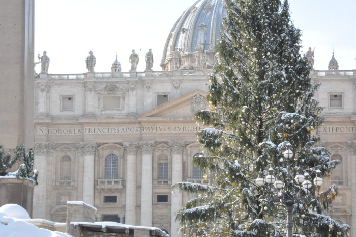 St. Peter's in the winter with snow in Rome - QuodLibet bed and breakfast