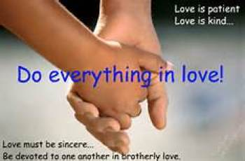 """Hands holding each other: """"Do everything in love"""""""