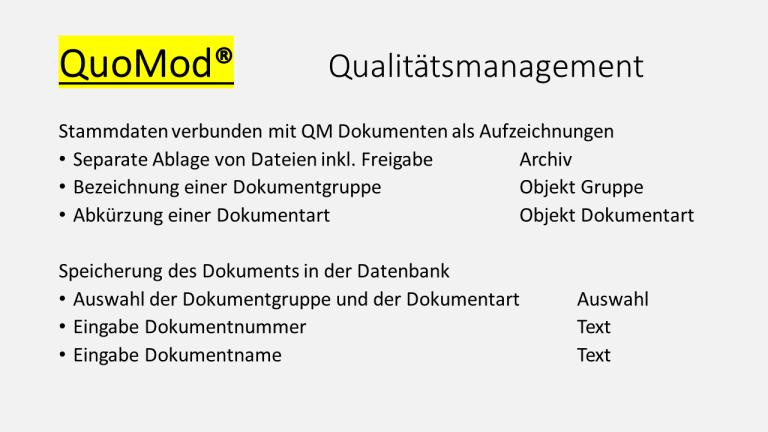 QuoMod Lenkung von Dokumenten Folie Qualitätsmanagement 170927