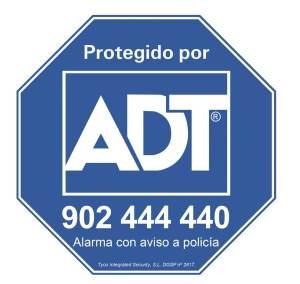 Placa. El distintivo de exteriores de ADT indica que su hogar está protegido con un sistema de alarma con aviso a Policía