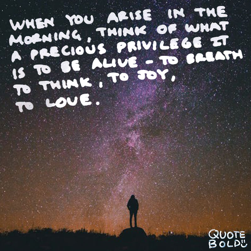 "quote "" When you arise in the morning, think of what a precious privilege it is to be alive – to breathe, to think, to enjoy, to love."" — Marcus Aurelius"