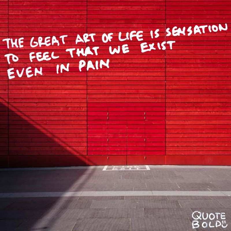 "quote ""The great art of life is sensation, to feel that we exist, even in pain."" - Lord Byron"