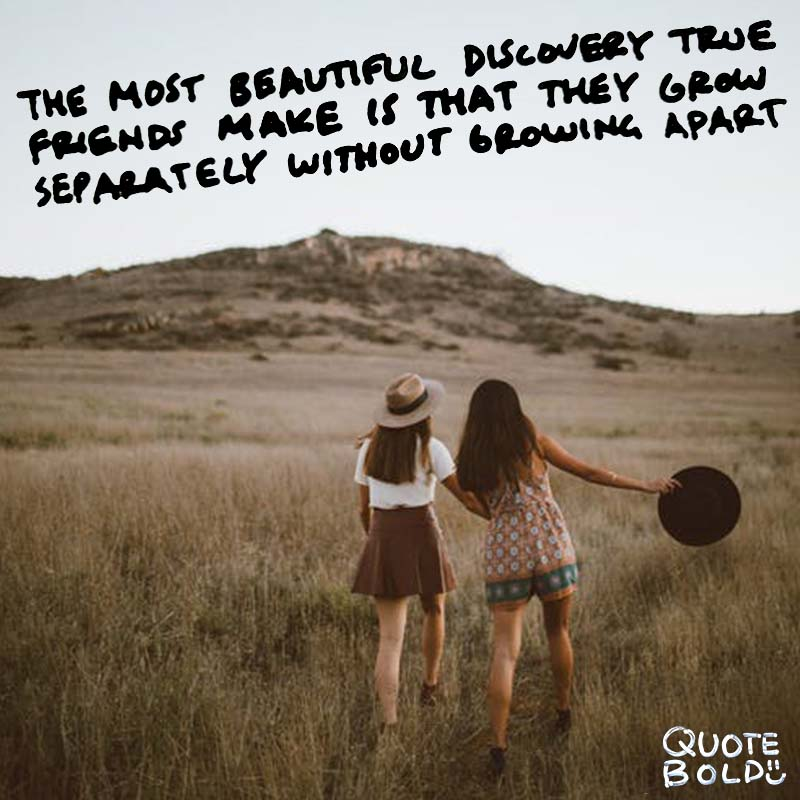 "quote ""The most beautiful discovery true friends make is that they can grow separately without growing apart."" — Elizabeth Foley"