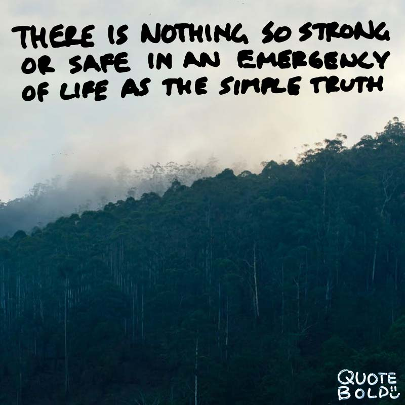 "quotes being strong - Charles Dickens ""There is nothing so strong or safe in an emergency of life as the simple truth."""