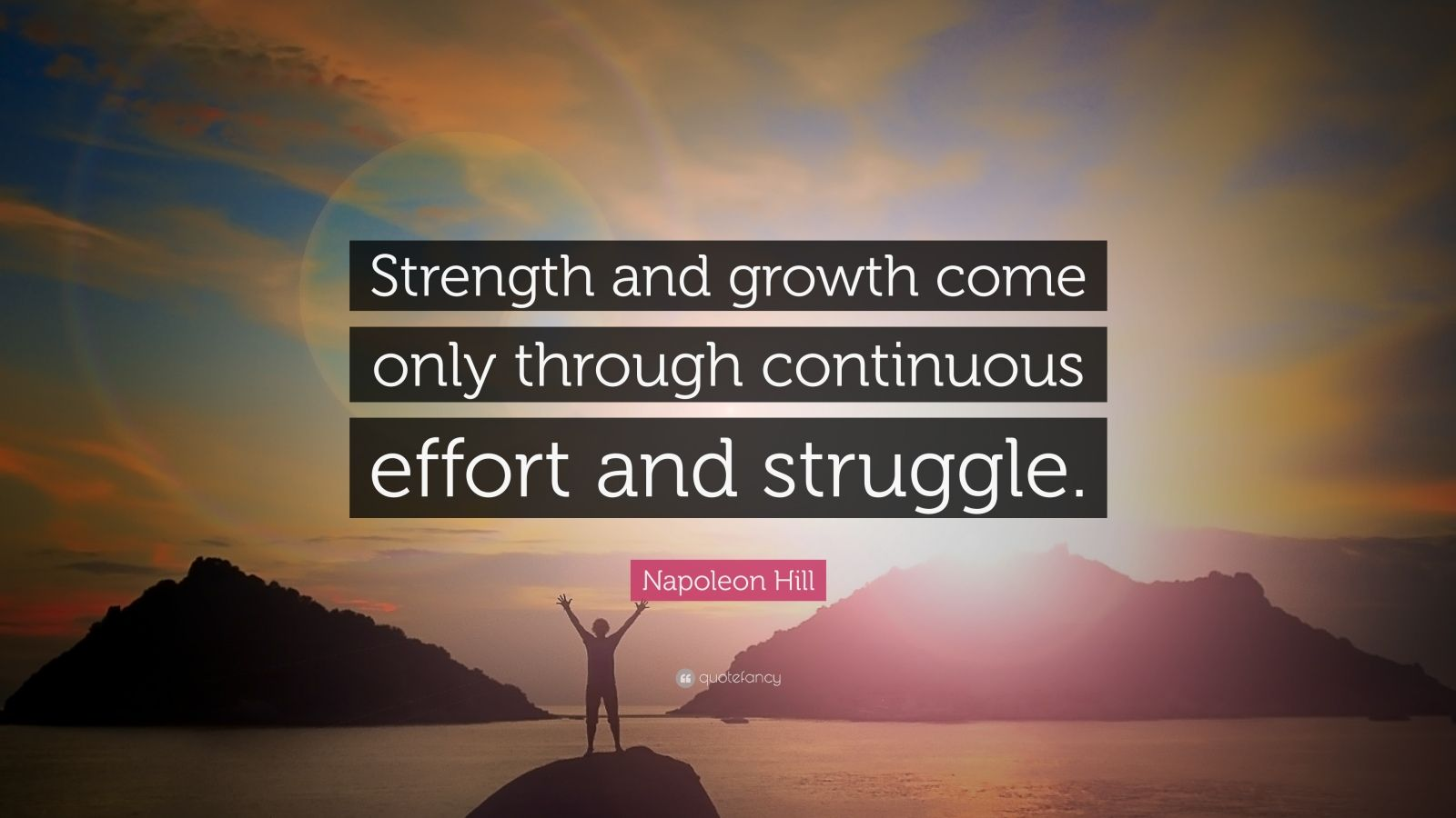 Business Success Quotes Wallpaper Napoleon Hill Quote Strength And Growth Come Only