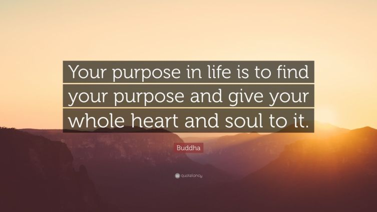 "Buddha Quote: ""Your purpose in life is to find your purpose and give your whole heart and soul to it."""