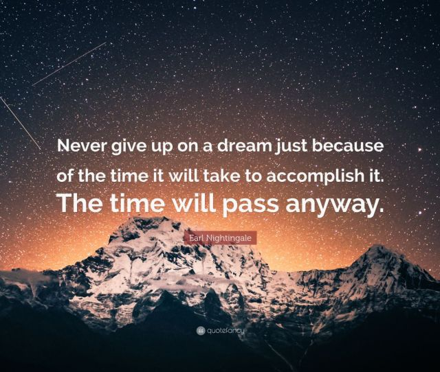 Success Quotes Never Give Up On A Dream Just Because Of The Time It