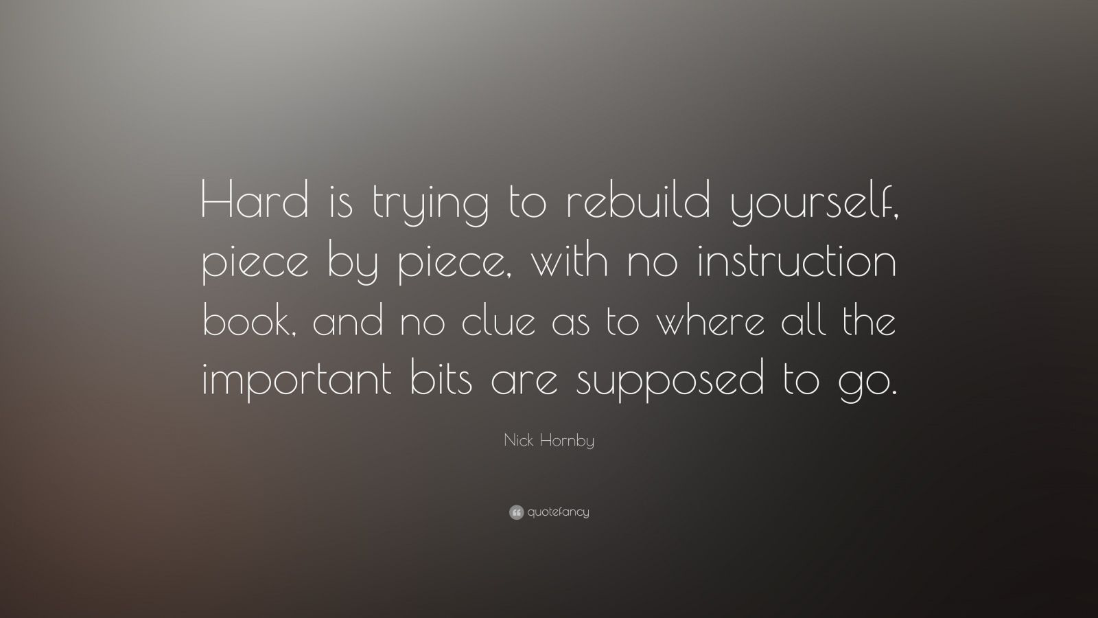 William Shakespeare Love Quotes Wallpaper Nick Hornby Quote Hard Is Trying To Rebuild Yourself