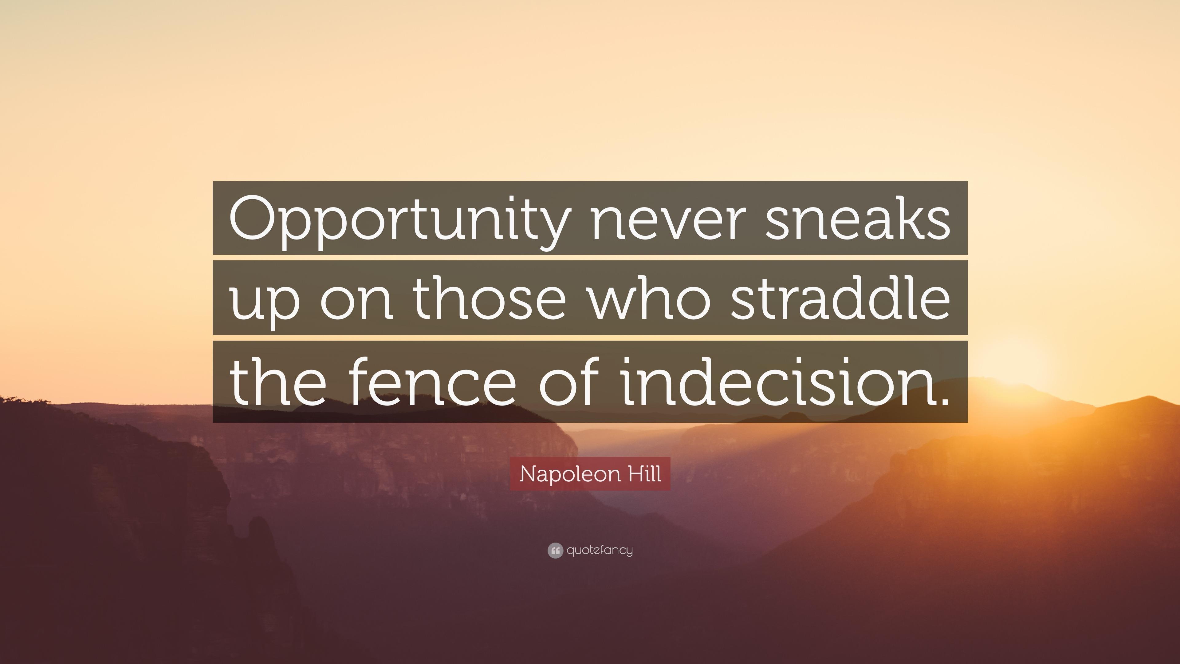 napoleon hill quote opportunity