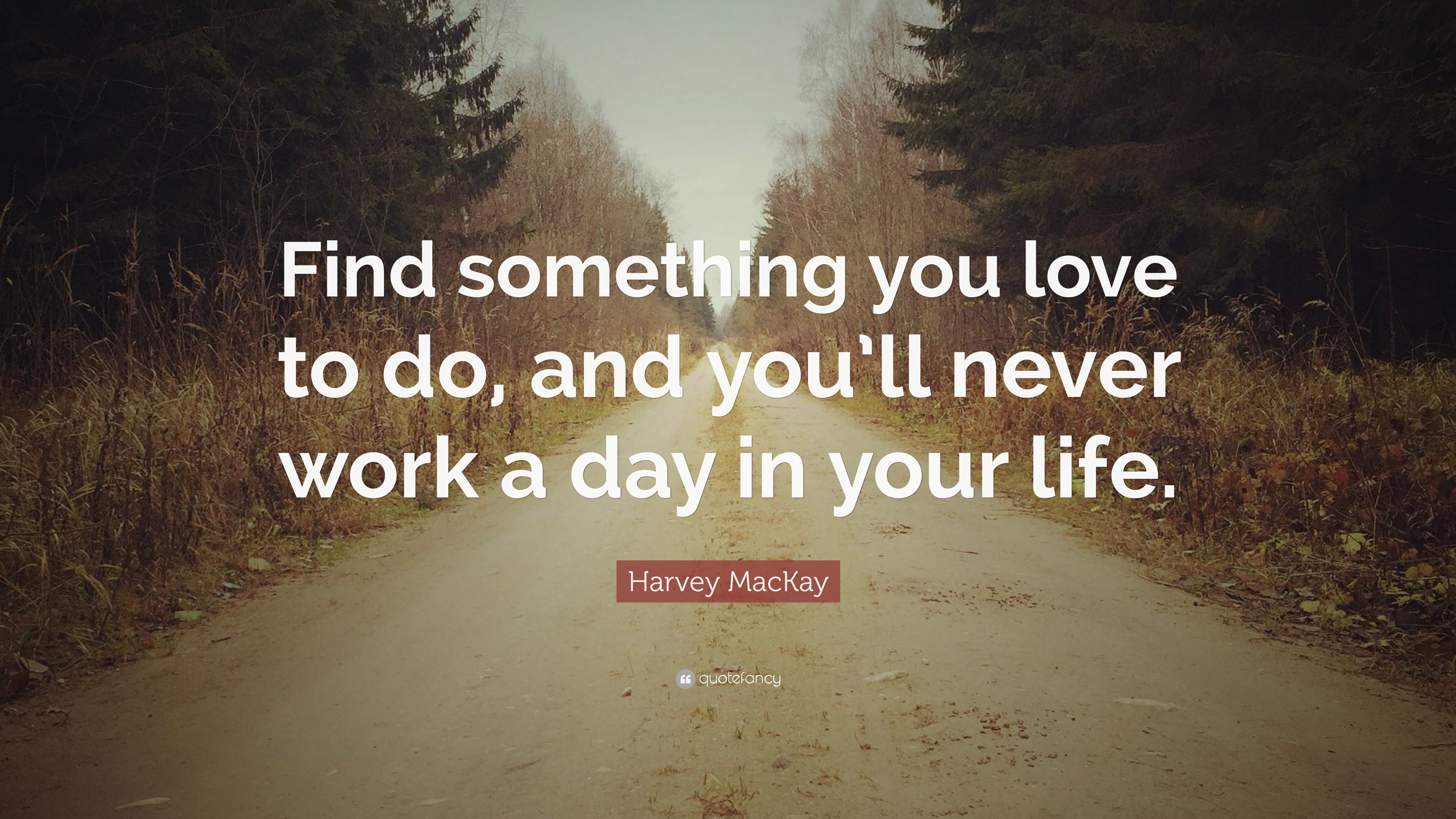 """Harvey MacKay Quote: """"Find something you love to do. and you'll never work a day in your life."""" (12 wallpapers) - Quotefancy"""