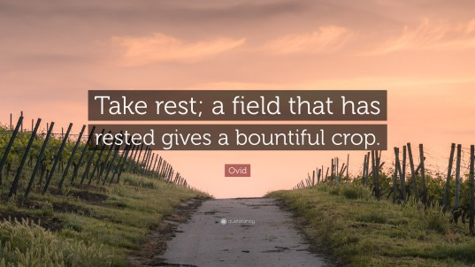 Image result for Take rest; a field that has rested gives a bountiful crop. ~Ovid