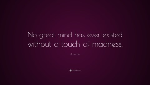 "Image result for ""No great mind has ever existed without a touch of madness. aristotle"