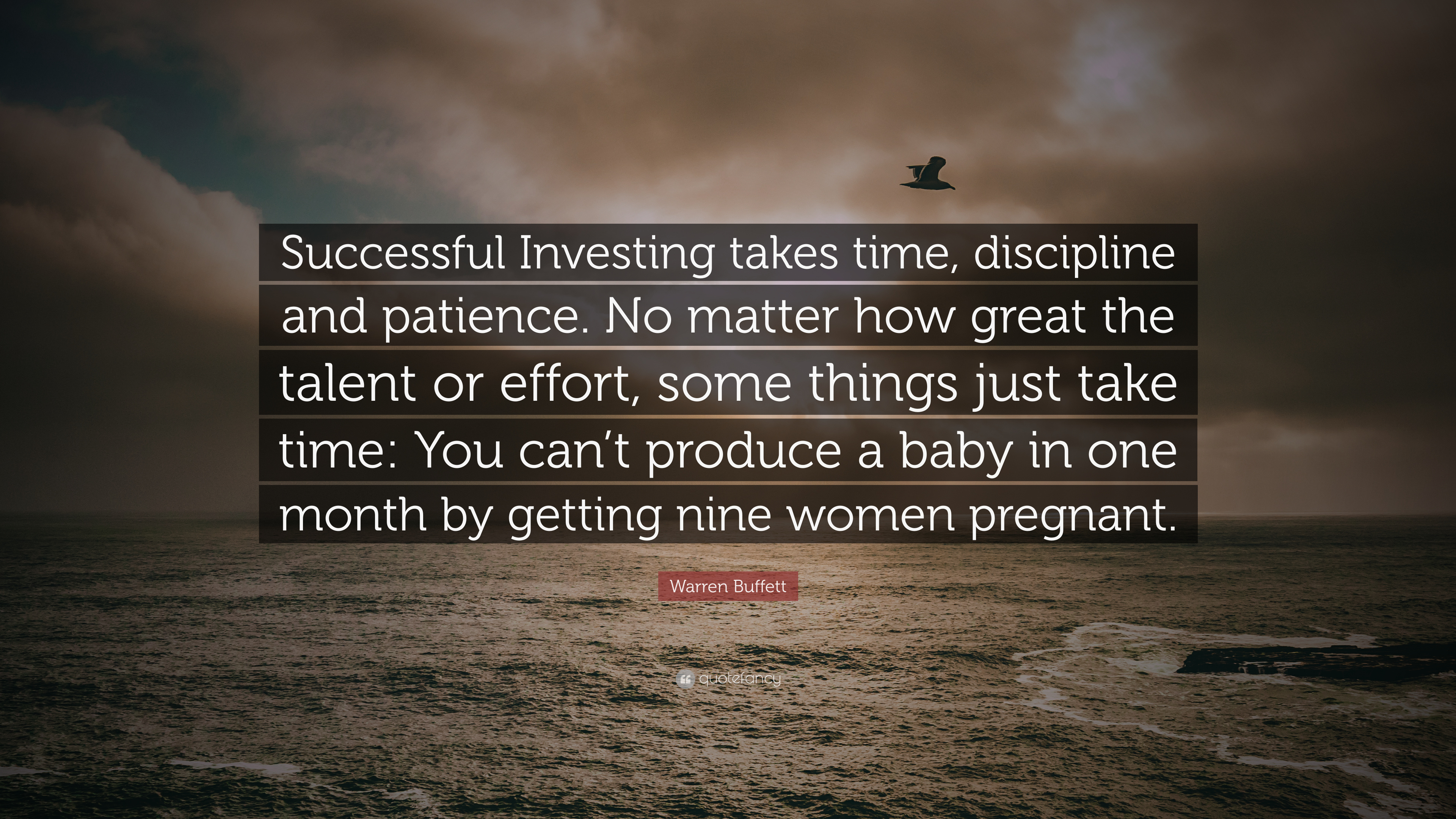 """Warren Buffett Quote: """"Successful Investing takes time. discipline and patience. No matter how great the talent or effort. some things just tak ..."""