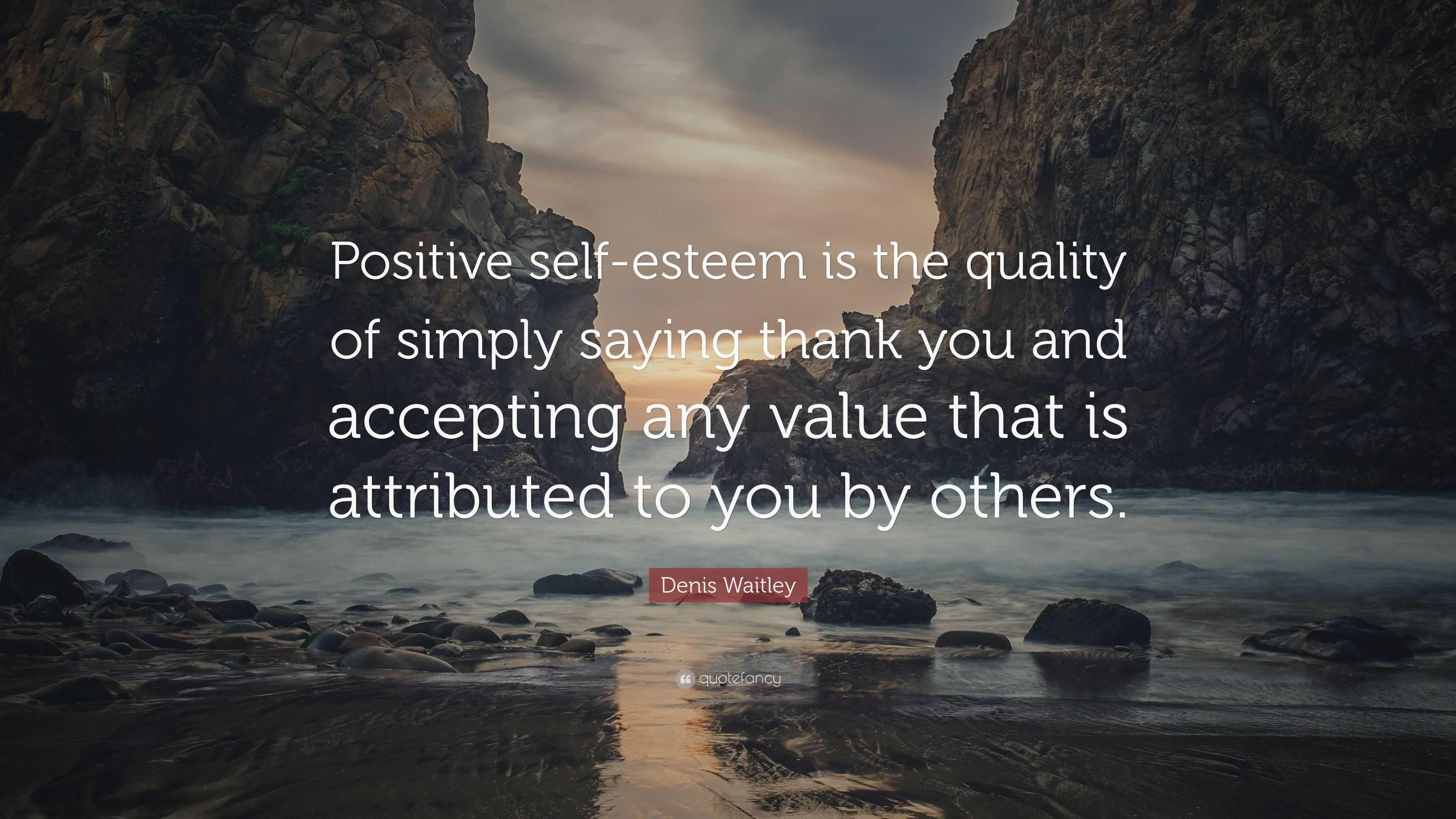 "Denis Waitley Quote: ""Positive self-esteem is the quality ..."