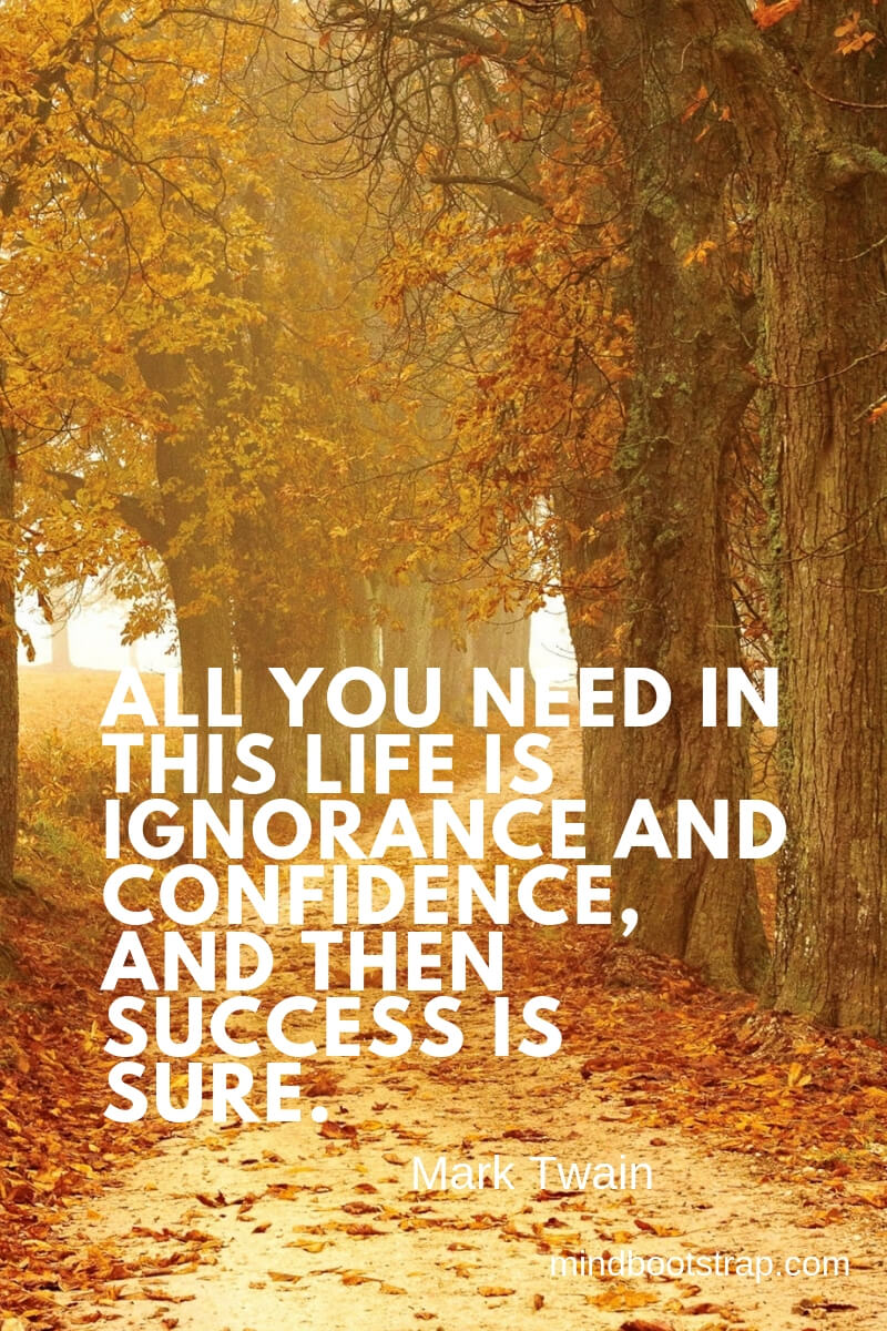 inspirational confidence quotes All you need in this life is ignorance and confidence, and then success is sure. ~Mark Twain