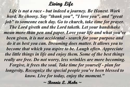 Living Life Bonnie Mohr Quote Pleasing Living Life Bonnie Mohr Quote 15  Quotesbae