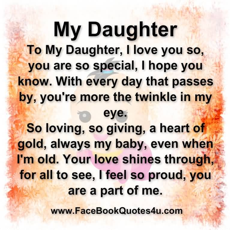 Love Quotes To Daughter Cool 20 Love Quotes My Daughter Images And Pictures  Quotesbae