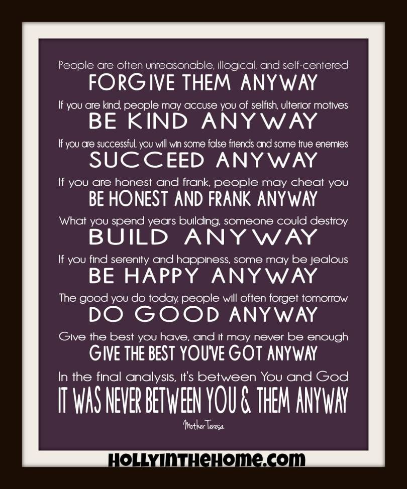 Mother Teresa Quote Love Them Anyway 20 Mother Teresa Quote Love Them Anyway Pictures  Quotesbae