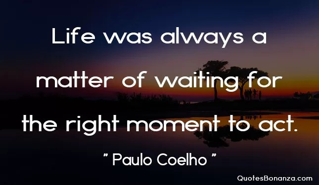 life was always a matter of waiting for the right moment to act