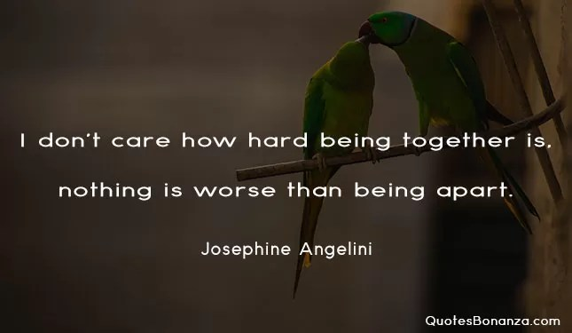 i dont care how hard being together is. nothing is worse than being apart.