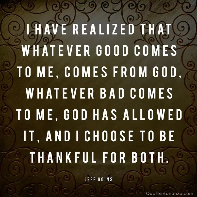 I have realized that whatever good comes to me, comes from God, whatever bad comes to me, God has allowed it, and I choose to be thankful for both. - Jeff Goins