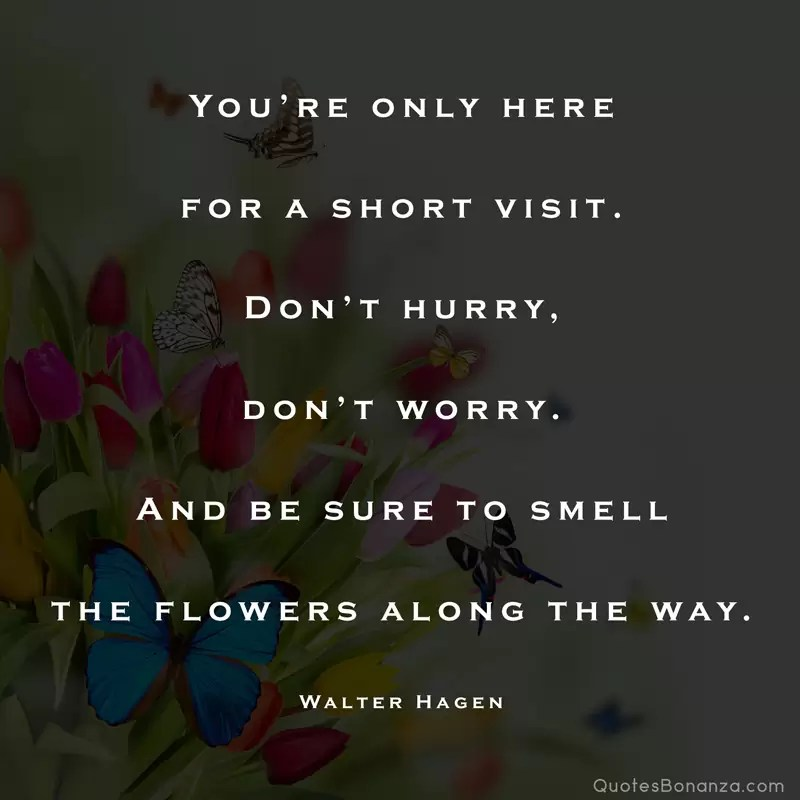 You're only here for a short visit. Don't hurry, don't worry. And be sure to smell the flowers along the way. – Walter Hagen