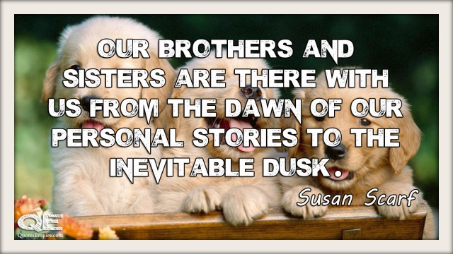 Our brothers and sisters are there with us from the dawn of our personal stories to the inevitable dusk. Quote by Susan Scarf Merrell
