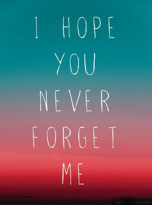 I Hope You Never Forget Me Love Quote Quotespictures Com