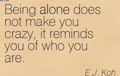 Being Alone Does Not Make You Crazy, It Reminds You Of Who You Are. - E.J. Koh