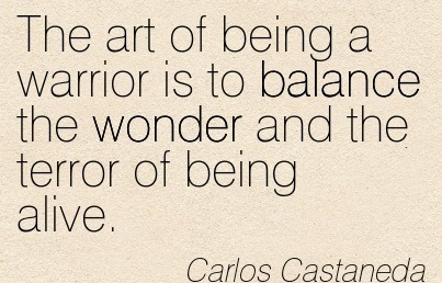 The Art Of Being A Warrior Is To Balance The Wonder And The Terror Of Being Alive. - Carlos Castaneda