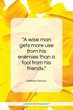 "Baltasar Gracian quote: ""A wise man gets more use from…""- at QuotesQuotesQuotes.com"