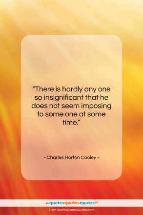 "Charles Horton Cooley quote: ""There is hardly any one so insignificant…""- at QuotesQuotesQuotes.com"