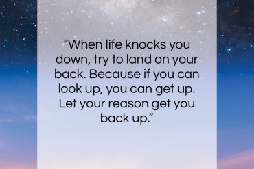 "Les Brown quote: ""When life knocks you down, try to…""- at QuotesQuotesQuotes.com"