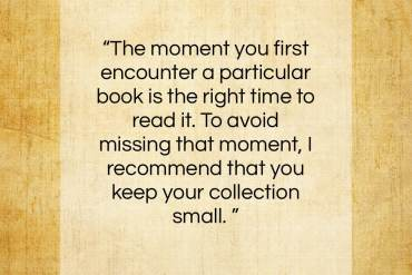 """Marie Kondo quote: """"The moment you first encounter a particular book…""""- at QuotesQuotesQuotes.com"""