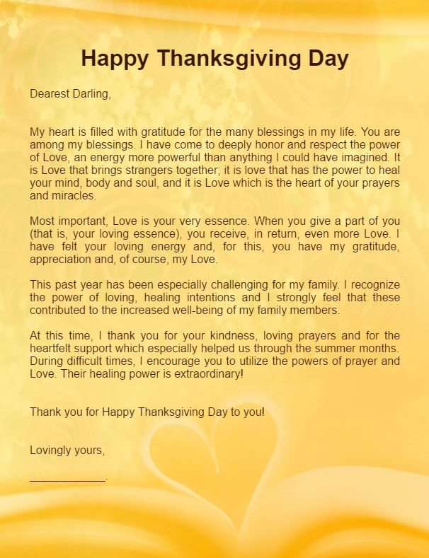 Thanksgiving Love Letters for Her & Him