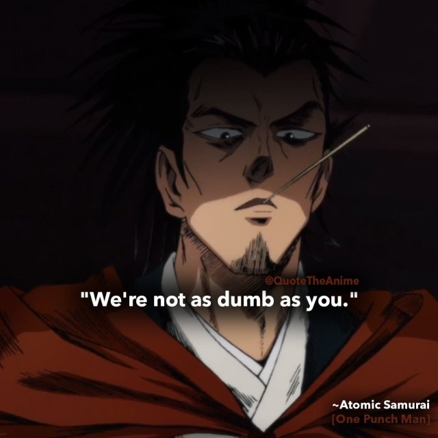 atomic samurai quotes-one punch man-we're not as dumb as you