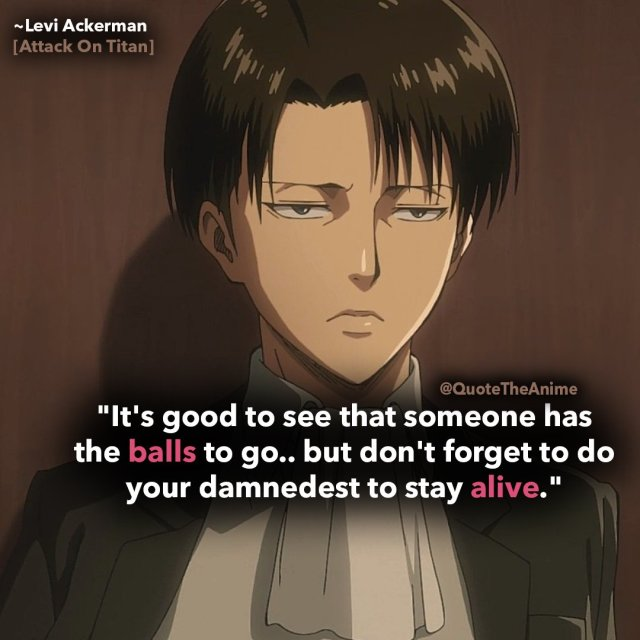 levi-ackerman-quotes-attack on titan-its good to see that someone ahs the balls to go.. but dont forget to do your damnedest to stay alive.