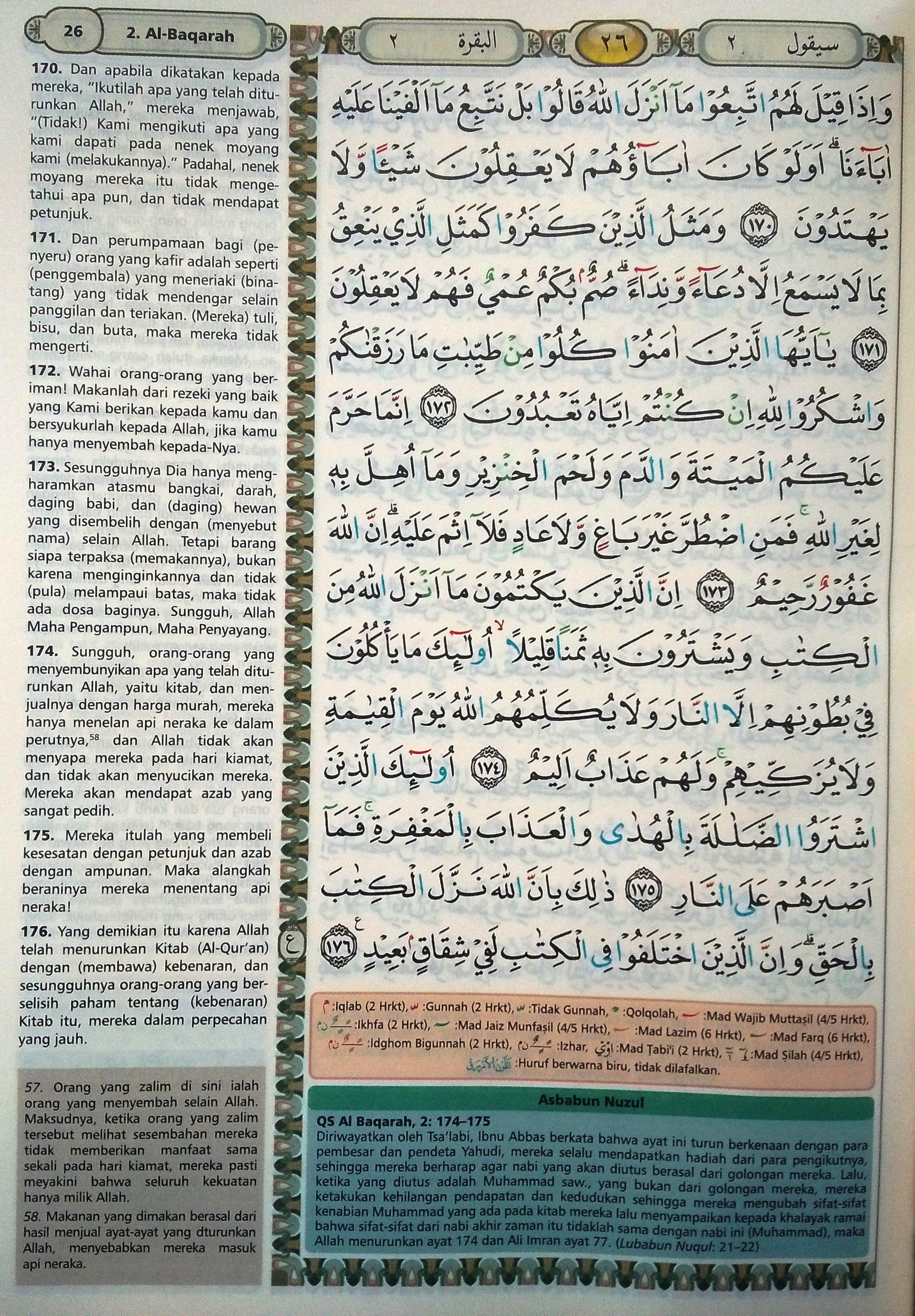Surah Al Baqarah Beserta Tajwid : surah, baqarah, beserta, tajwid, Baqarah, 170-176, (Hal., Quran, Tajwid, Terjemahan