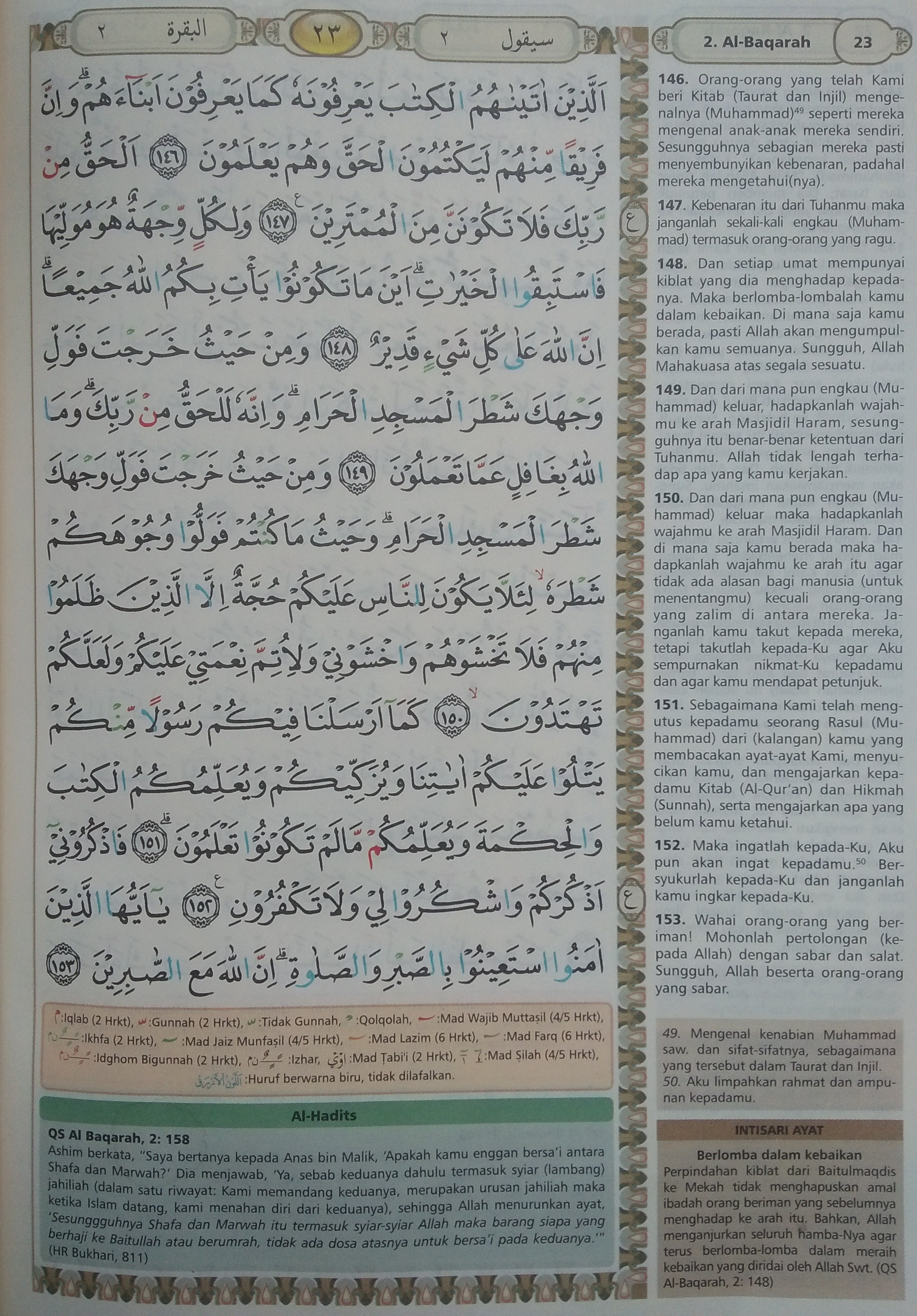 Tajwid Al Baqarah 148 : tajwid, baqarah, Baqarah, 146-153, (Hal., Quran, Tajwid, Terjemahan