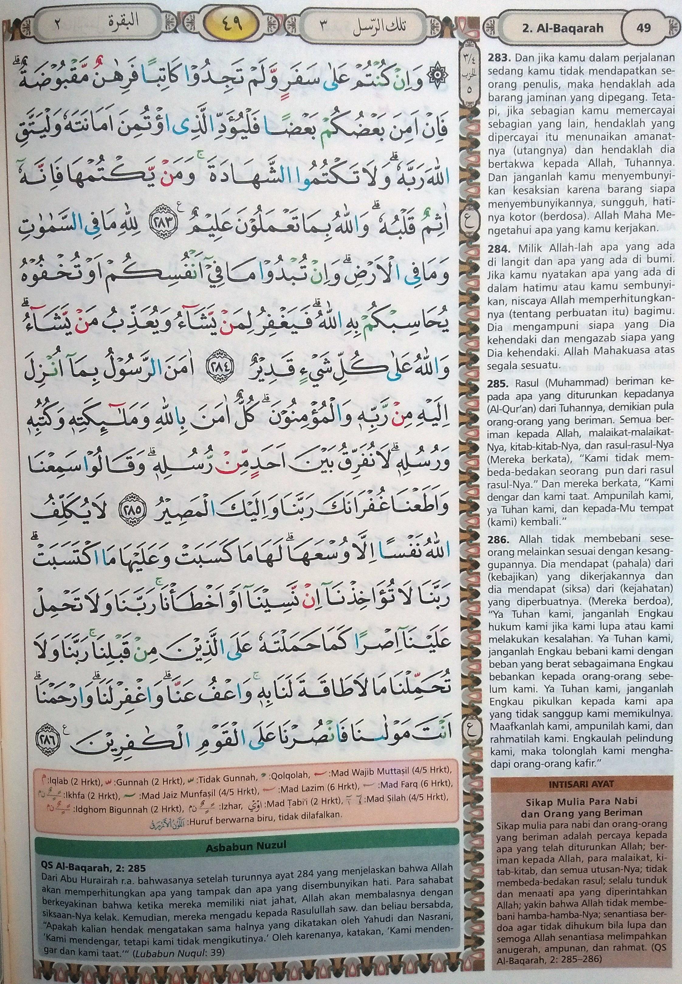 Surah Al Baqarah Beserta Tajwid : surah, baqarah, beserta, tajwid, Baqarah, 283-286, (Hal., Quran, Tajwid, Terjemahan