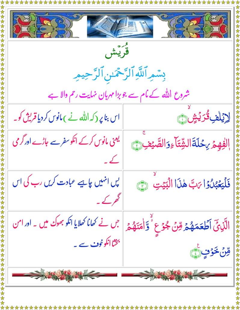 Read Surah Quraish Online